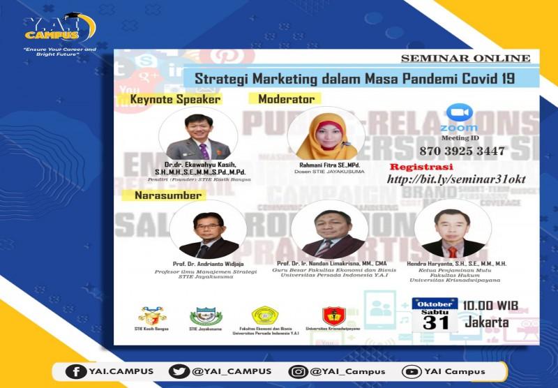 "Seminar Online ""Strategi Marketing dalam Masa Pandemi Covid 19"""