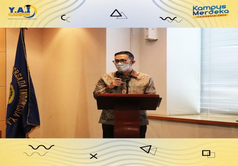 Sambutan dari Prof. Dr. Ir. H. Yudi Yulius, MBA selaku Rektor UPI Y.A.I Masa Bakti 2018 - 2021