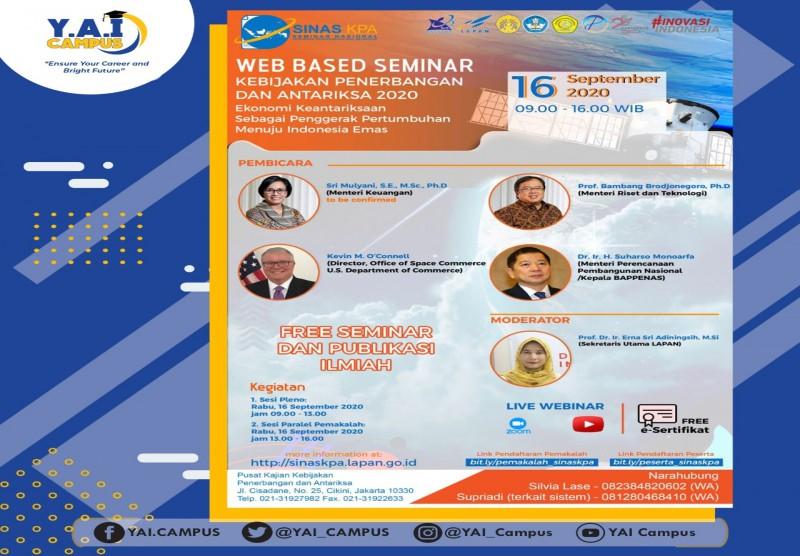 "Seminar Nasional Kebijakan Penerbangan dan Antariksa dengan tema "" Ekonomi Keantariksaan Sebagai Penggerak Pertumbuhan Menuju"