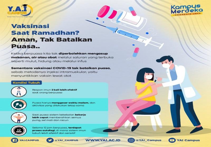 Vaksinasi Saat Ramadhan?, Aman Tak Batalkan Puasa